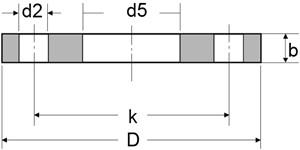 plate flange - EN1092-1/01/B1 304L Plate Flange RF 12 Inch PN16