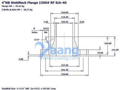 """20193101182881106 - ASME B16.5 A182 1.4547 Welding Neck Flange RF 4"""" SCH40 CL1500"""