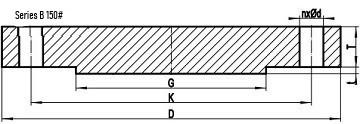 asme b16.47 sb 150lb blrf drw - ASME B16.47 Series B ASTM A182 Grade 316L BLRF Flange DN1350 150#